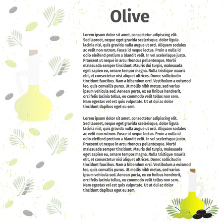 cruet: Vector illustration. Bottle of olive oil and a branch with green olives. For advertising, design and other uses elements Illustration