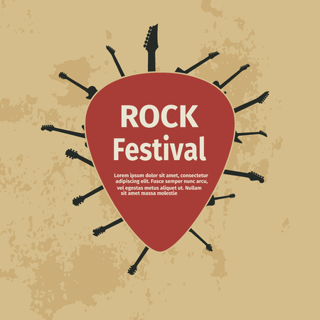 plectrum: Rock festival banner with guitars and plectrum, vector illustration Illustration