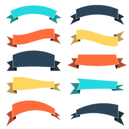 Set of colored ribbons, vector illustration Ilustracja