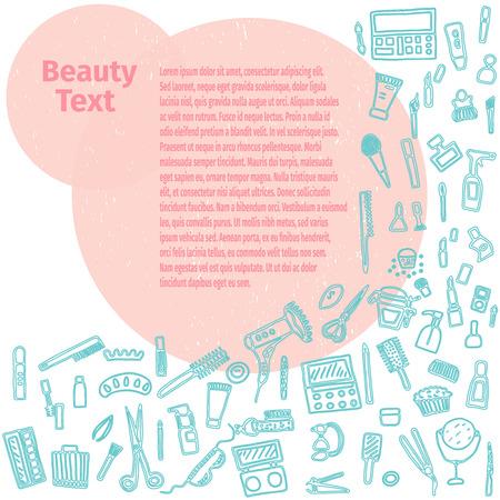 reticulation: Hand drawn set of make up.Beauty vector illustration. Illustration
