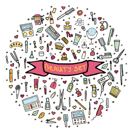 lip gloss: Hand drawn set of make up.Beauty vector illustration. Illustration