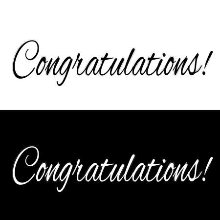 Noir et blanc félicitations bannière, illustration vectorielle