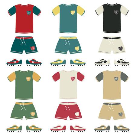 goal cage: Football uniform different color, vector illustration Illustration