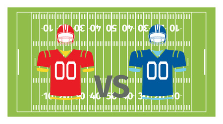 playfield: American football play-field and uniform, vector illustration
