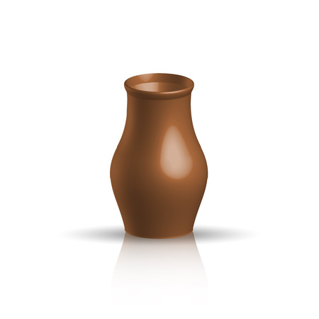 clay pot: Realistic clay pot, brown color, vector illustration Illustration