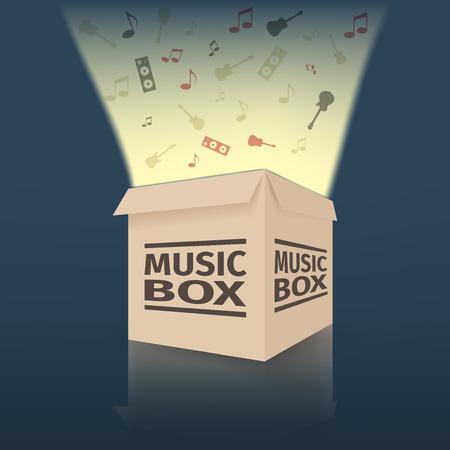 boite a musique: Bo�te � musique en carton, illustration vectorielle
