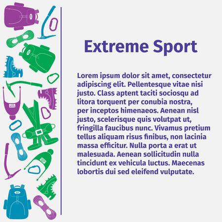 ice axe: Advertising card for extreme sport, vector illustration