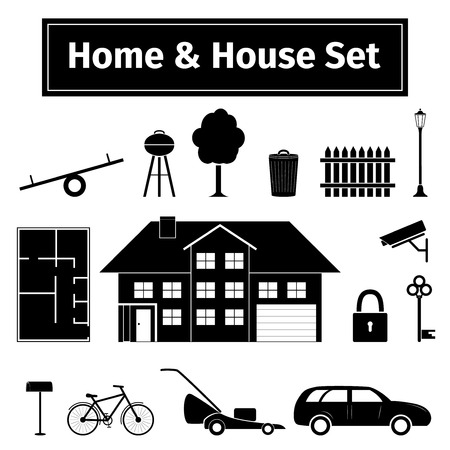 mower: Home and house set, vector illustration
