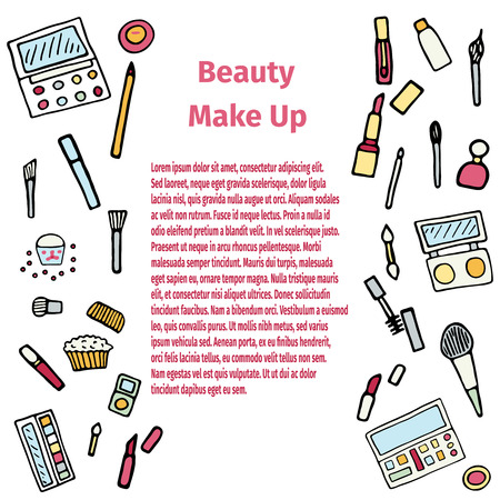 reticulation: Hand drawn set of make up.Beauty vector illustration. Illustration