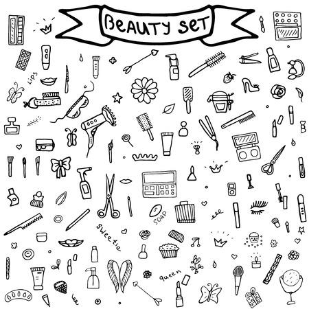 nail file: Hand drawn set of make up.Beauty vector illustration. Illustration