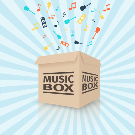 Cardboard music box, vector illustration Ilustracja