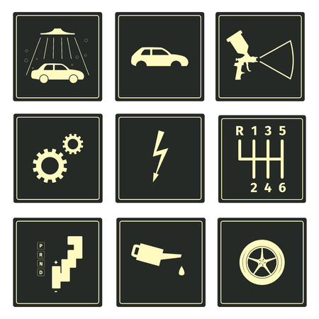 tailpipe: Car serice icons set, vector illustration Illustration