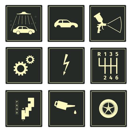 Car serice icons set, vector illustration Illustration