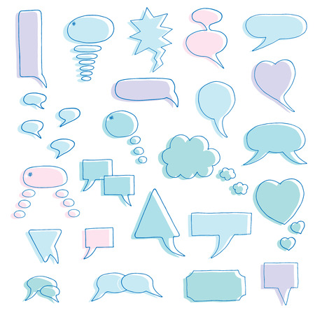 complaints: Hand drawn bubbles set. Design elements for text, thoughts, complaints and other decorations. Vector illustration.