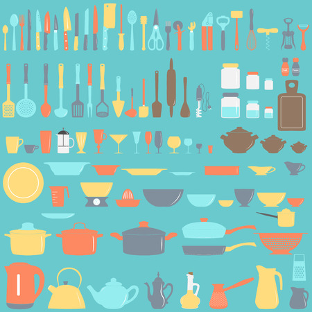 Set of kitchen utensils, vector illustration Çizim