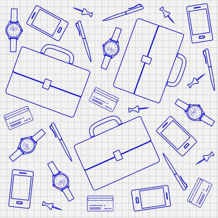 accessoire: Patroon met zakelijke accessoire, vector illustratie