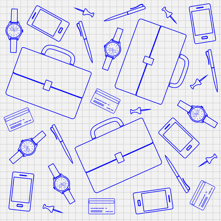 accessory: Pattern with business accessory, vector illustration