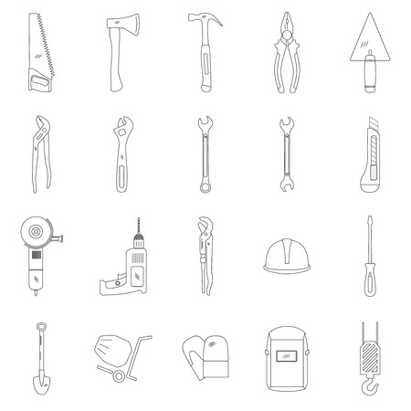 jenny: Tools line icon set, vector illustration