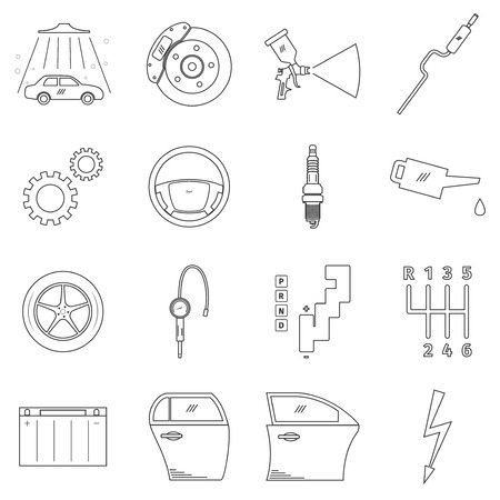 tailpipe: Car service set, vector illustration