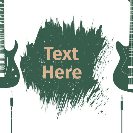 plectrum: Advertising card with guitar, vector illustration
