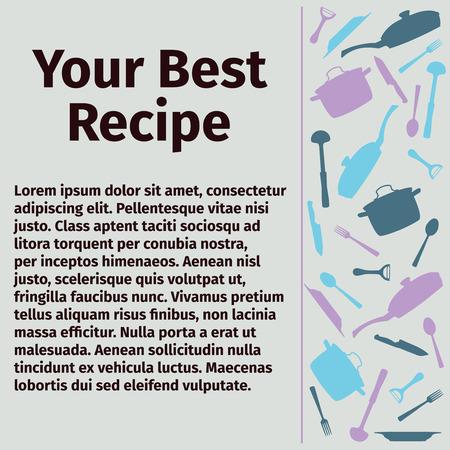 culinair: Sjabloon voor culinaire recepten, vector illustratie