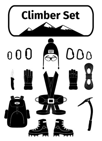 Climber icons set with equipment, vector illustration