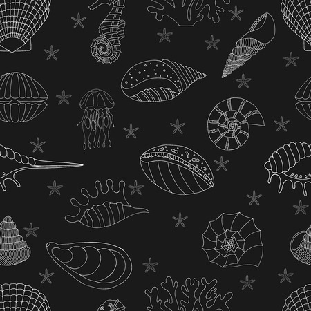 shellfish: Wonderful vector seamless pattern of seashells, starfish and seahorses. Set painted by hand. To use postcards, greetings, prints on textiles and other creative products.