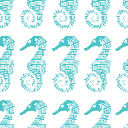 seahorse: Wonderful vector seamless pattern of seahorses. Set painted by hand. To use postcards, greetings, prints on textiles and other creative products.