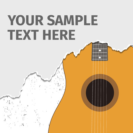 mediator: Acoustic guitar and torn paper, vector illustration