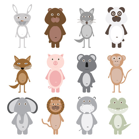 Set of 12 cute animals. Vector illustration for childrens books, posters, postcards and other design