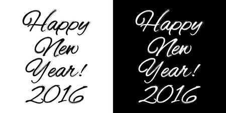 happy new year banner: Happy new year banner on a black and white background, vector illustration