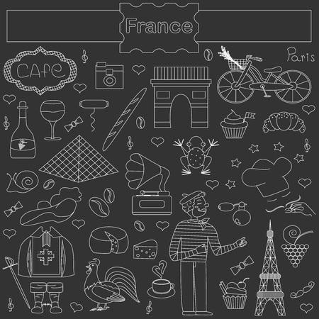 mosquetero: Un conjunto de elementos temáticos de Francia, como los mosqueteros, un gallo, una barra de pan, croissant, cocinero, y más. Vectores