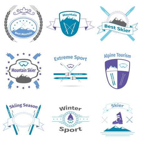 Ski and mountain badges design