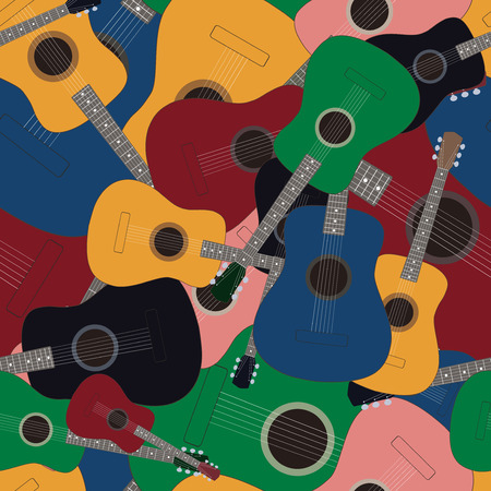 Seamless pattern with colored guitars