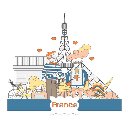 frenchman: A set of thematic elements of France, such as  the Musketeers, a rooster, a baguette, croissant, and more. Vector illustration of Pariss attractions. Figure in style hand-drawing.