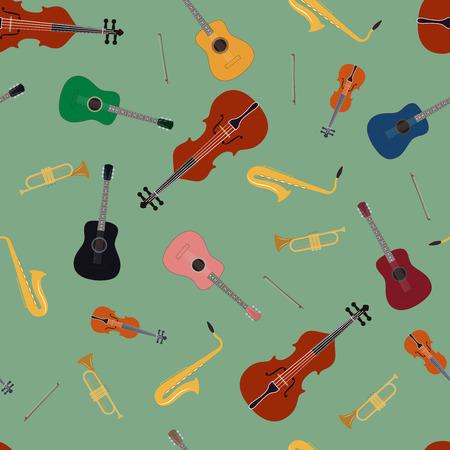 fiddlestick: Seamless pattern of music instrument, vector illustration Illustration