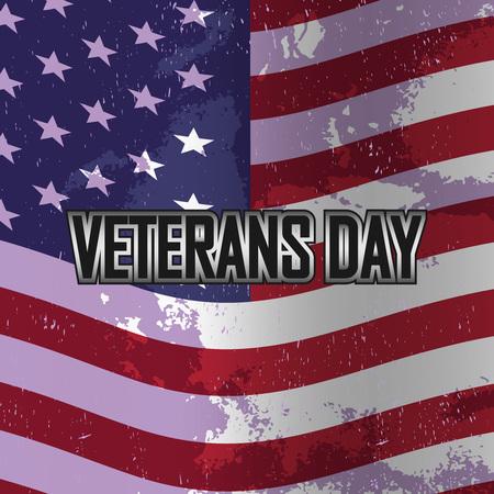 Veterans day banner on American flag, vector illustration Illustration