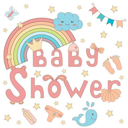 little girl feet: Baby shower invitation card for girl.Vector illustration Illustration