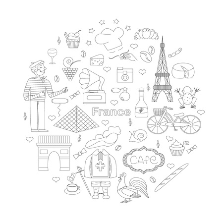 frenchman: A set of thematic elements of France, such as  the Musketeers, a rooster, a baguette, croissant, cook, and more. Vector illustration of Pariss attractions. Figure in style hand-drawing.