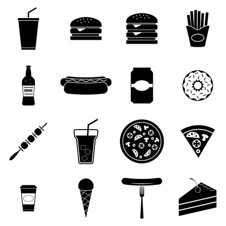 Fast food icons set, vector illustration