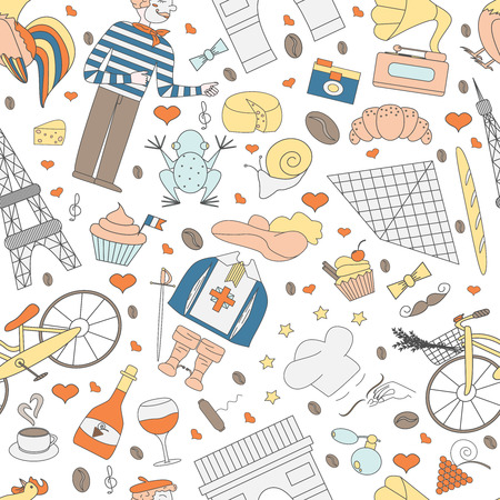 frenchman: A seamless pattern of thematic elements of France, such as  the Musketeers, a rooster, a baguette, croissant, cook, and more. Vector illustration of Pariss attractions. Figure in style hand-drawing. Illustration
