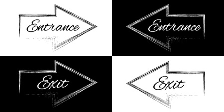 Entrance and exit on a black and white arrows, vector illustration Vettoriali