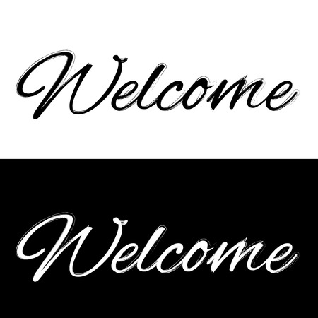 locution: Welcome on a black and white background, vector illustration Illustration