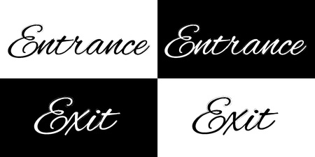 log out: Exit and entrance on a black and white background, vector illustration