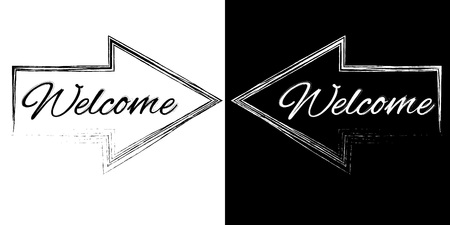 locution: Welcome on a black and white arrows, vector illustration Illustration