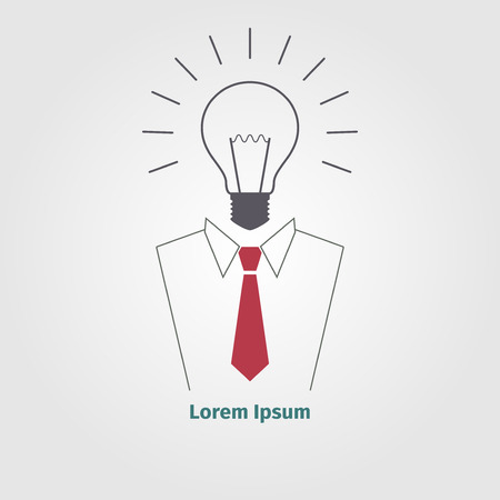 Logo with businessman and ligthbulb, vector illustration Ilustracja