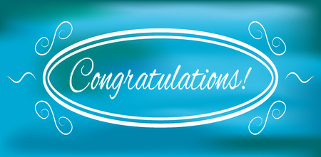 to acclaim: Congratulations banner on a blue background, vector illustration Illustration