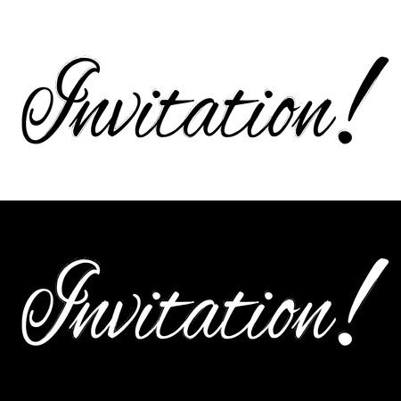 Black and white invitation banner, vector illustration
