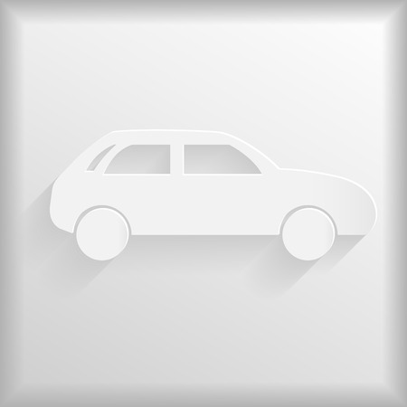 racing sign: White car icon, vector illustration