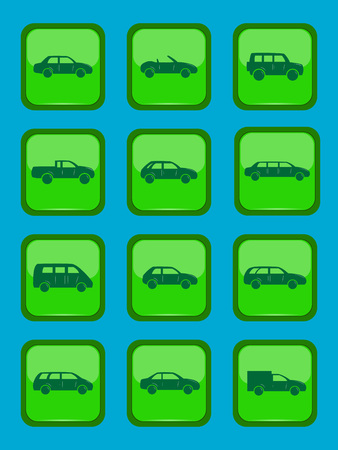racing sign: Car icons set on a green button, vector illustration Illustration